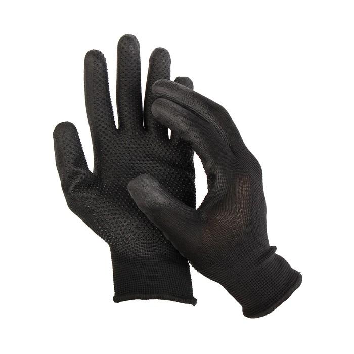 Перчатки нейлоновые, с ПВХ точками, полуоблив, размер 9, чёрные