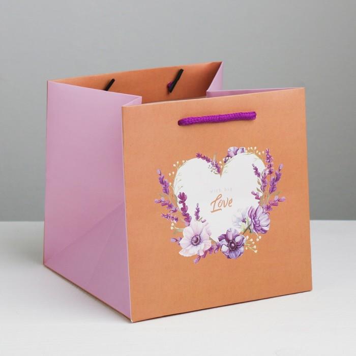 Квадратный пакет Love, 16 × 16 × 16 см - фото 308285617