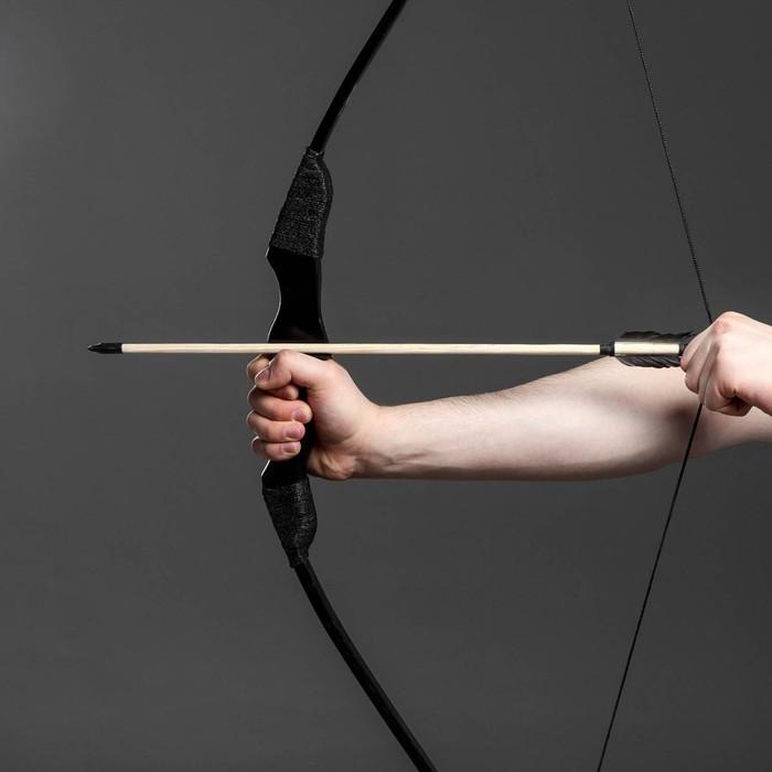 """Сувенирное деревянное оружие """"Лук фигурный"""", взрослый, черный, массив ясеня, 120 см"""