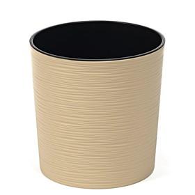 Пластиковый горшок с вкладкой «Мальва», цвет бежевый