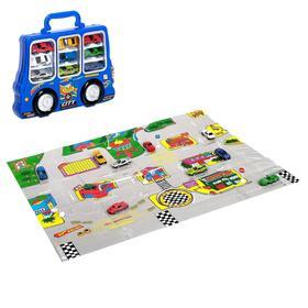 Игровой набор в чемодане: 9 металлических машинок, знаки, размер коврика 70х80
