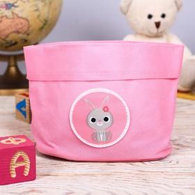 """Настольная корзинка """"Зайчик, розовый"""""""