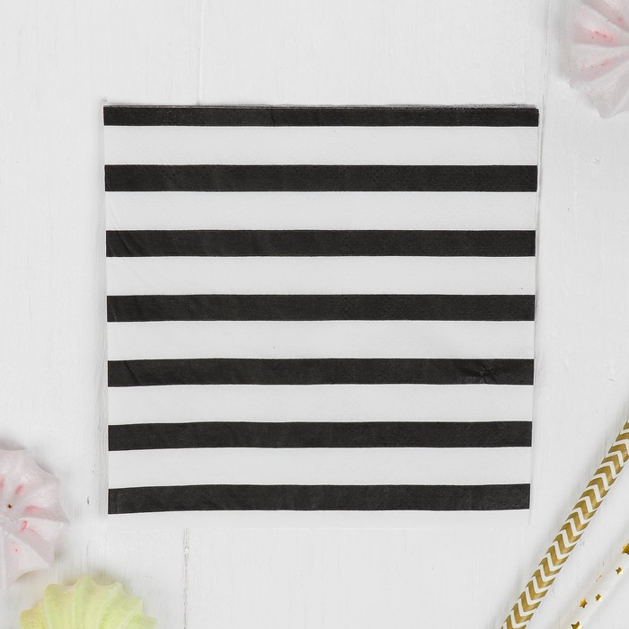 """Салфетки бумажные """"Полоски"""" набор 20 шт, 25*25 см, цвет чёрный"""