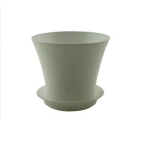 Пластиковый горшок с поддоном «Сити», цвет белый