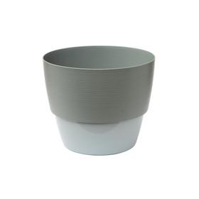 Пластиковый горшок с вкладкой «Валенсия», цвет серый