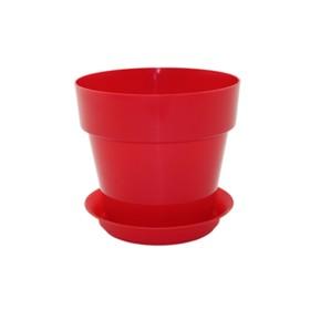 Пластиковый горшок с поддоном «Протея», цвет красный