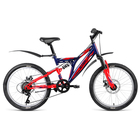 """Велосипед 20"""" Altair MTB FS 20 disc, 2019, цвет синий/красный, размер 13"""""""