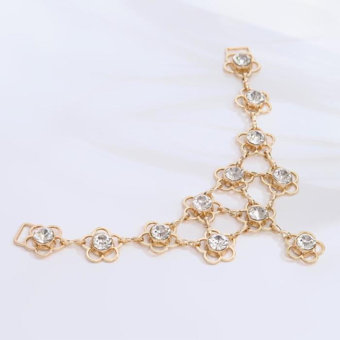 Украшение-горловина «Цветочки», 15 × 7 см, цвет золотой - фото 396708