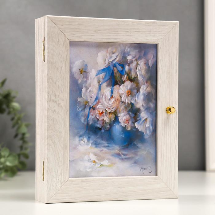 """Ключница """"Белоснежные цветы"""" Мини Молочный дуб 19х24 см"""