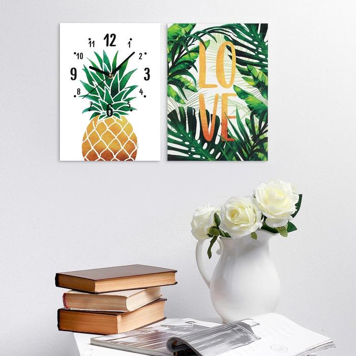 Часы настенные «LOVE», 24 × 33 см, с декором