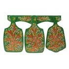 Набор кухонный «Хохлома»: 3 доски разделочные, держатель, зелёный