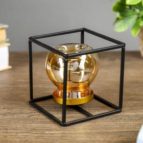 """Подсвечник металл, стекло на 1 свечу """"Чёрный куб"""" МИКС 10,2х10,2х10,2 см"""
