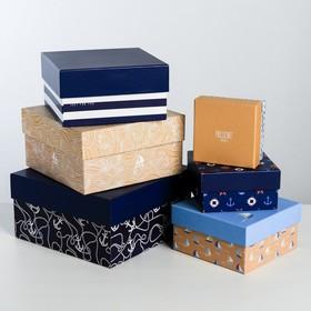 Набор подарочных коробок 6 в 1 «Морской стиль», 8 × 8 × 4.5‒18 × 18 × 9.5 см