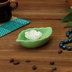 """Подставка для благовоний """"Листок"""", зелёная, керамика,11х7 см"""