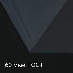 Плёнка полиэтиленовая, толщина 60 мкм, 3 × 100 м, рукав (1,5 м × 2), прозрачная, 1 сорт, ГОСТ 10354-82