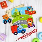"""Деревянная игрушка-шнуровка """"Транспорт"""" - фото 1030880"""