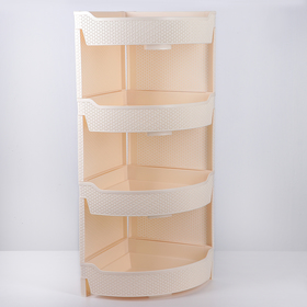 Bookcase 4-section corner Nature, ivory