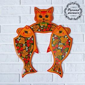 Набор досок разделочных «Котик с рыбкой», вешалка 38×20 см, доски 2 шт 35×15 см, хохлома