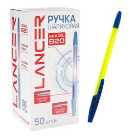 Ручка шариковая LANCER Office Style 820, узел 0.5 мм, чернила синие ароматизированные, корпус жёлтый неон