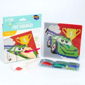 Алмазная мозаика для детей «Тачка», 15 х 15 см + ёмкость, стерж, клеев подушечка. Набор для творчества - фото 7308290