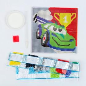 Алмазная мозаика для детей «Тачка», 15 х 15 см + ёмкость, стерж, клеев подушечка. Набор для творчества - фото 7308292