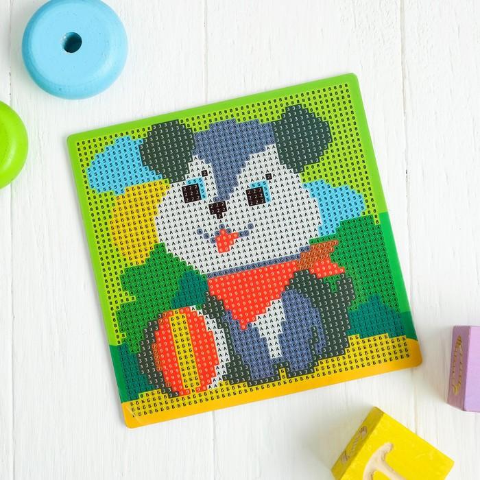 Алмазная мозаика для детей «Собачка», 15 х 15 см + емкость, стерж, клеев подушечка. Набор для творчества