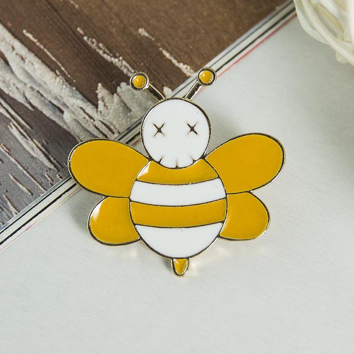 """Брошь """"Пчёлка"""" мультик, цвет желто-белый в золоте"""