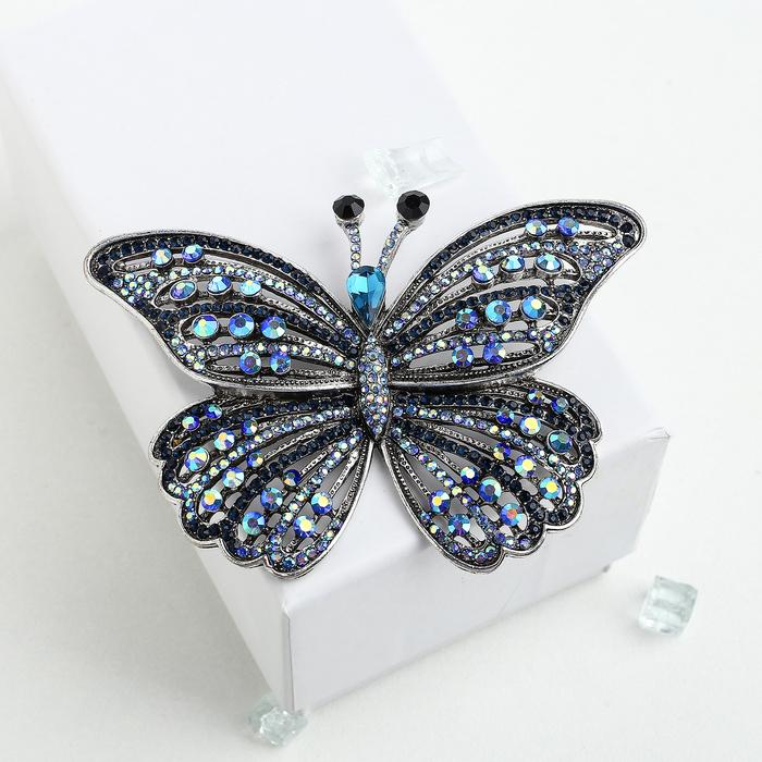"""Брошь """"Бабочка"""" салют, цвет радужно-синий в черненом серебре - фото 436985493"""