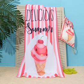 """Полотенце пляжное в сумке Этель """"Summer"""", 70*140 см, микрофибра, 100% п/э"""