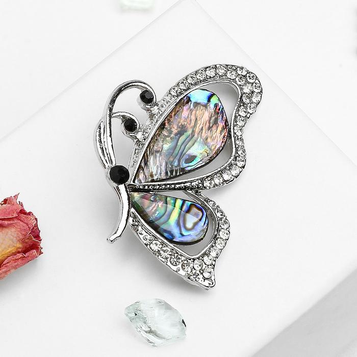 """Брошь """"Галиотис"""" бабочка со стразами, в серебре"""