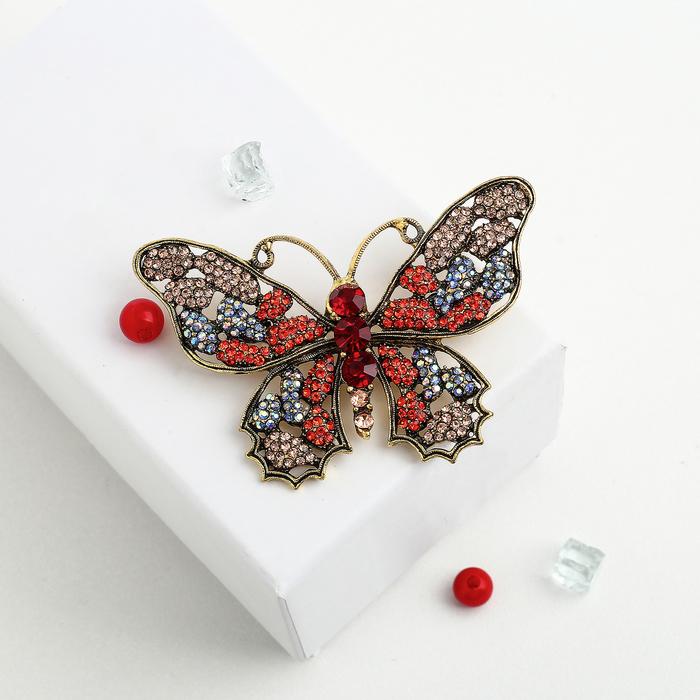 """Брошь """"Бабочка"""" мозаика, цветная в черненом золоте - фото 234153283"""