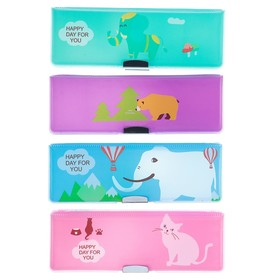 """Pencil case school plastic, """"Animals"""", a MIX"""