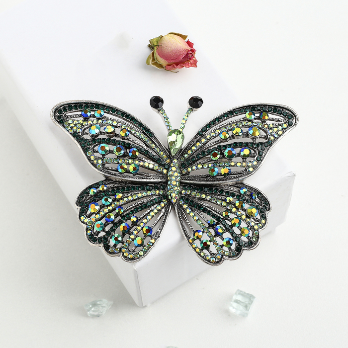 """Брошь """"Бабочка"""" салют, цвет радужно-зеленый в черненом серебре"""