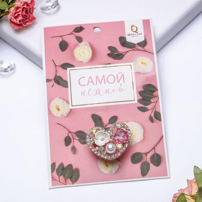 """Брошь """"Сердечко"""" с цветочком, цветная в розовом золоте - фото 245321529"""