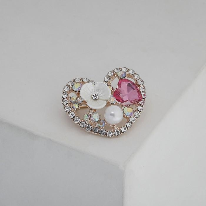 """Брошь """"Сердечко"""" с цветочком, цветная в розовом золоте - фото 245321528"""