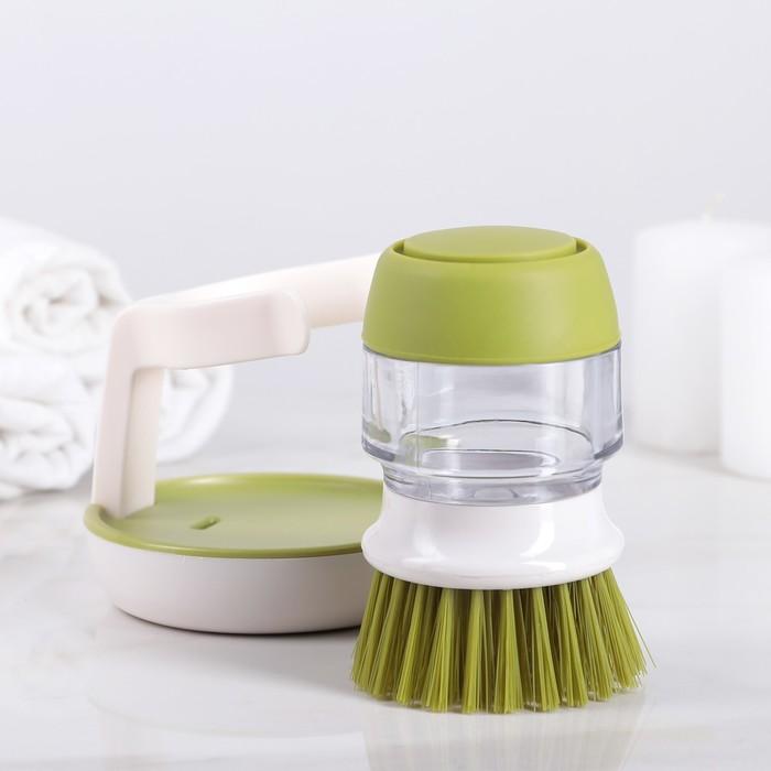 Щётка с дозатором для жидкого мыла на подставке 9×17 см, цвет МИКС
