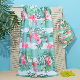 """Полотенце пляжное в сумке Этель """"Фламинго"""", 70*140 см, микрофибра, 100% п/э"""