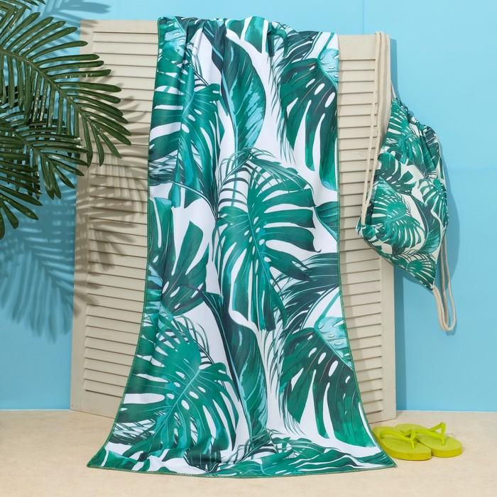 """Полотенце пляжное в сумке Этель """"Тропики"""", 70*140 см, микрофибра, 100% п/э"""