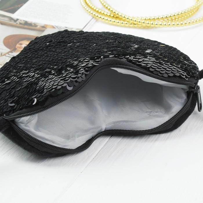 "Мягкая сумочка ""Сердце"" с пайетками, цвет чёрный"