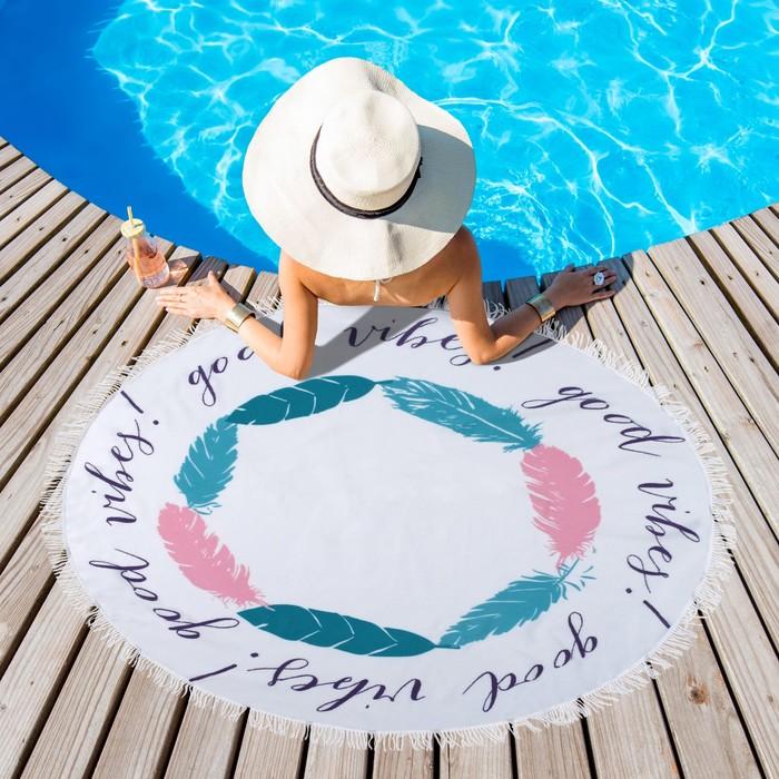 """Полотенце пляжное круглое Этель """"Пляж d120 см, 100 %  п/э"""