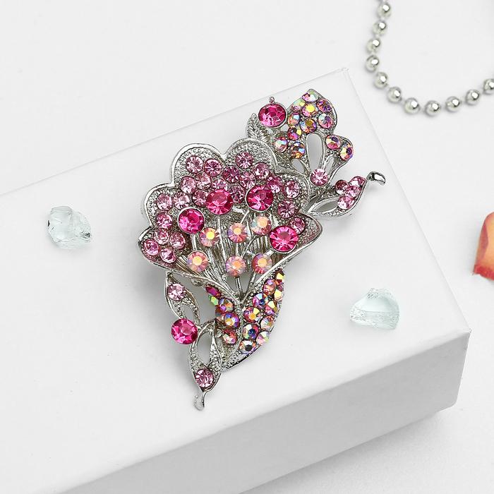 """Брошь """"Цветы"""" в букете, цвет радужно-розовый в серебре - фото 446187872"""