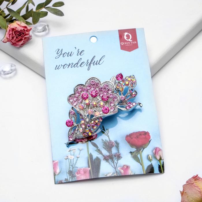 """Брошь """"Цветы"""" в букете, цвет радужно-розовый в серебре - фото 446187873"""