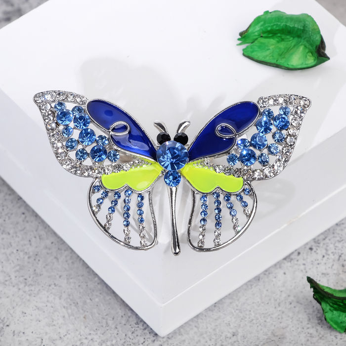"""Брошь """"Бабочка"""" адмирал, цвет сине-зеленый в серебре"""