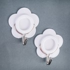 Набор крючков на липучке «Цветок», 2 шт, цвет белый