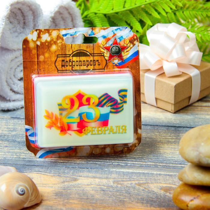 """Натуральное мыло """"23 февраля с флагом"""", парфюм, """"Добропаровъ"""", 100гр"""