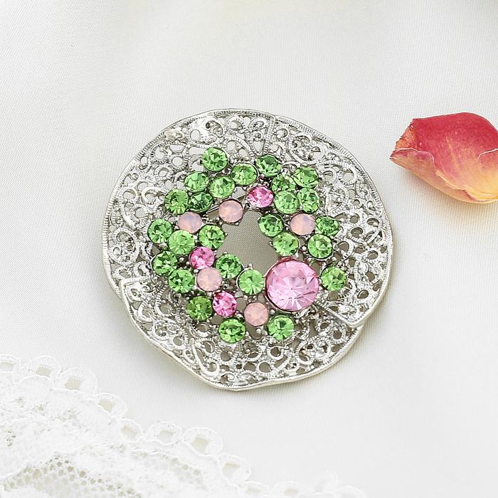 """Брошь """"Круг волнистый"""", цвет розово-зеленый в серебре - фото 329123988"""