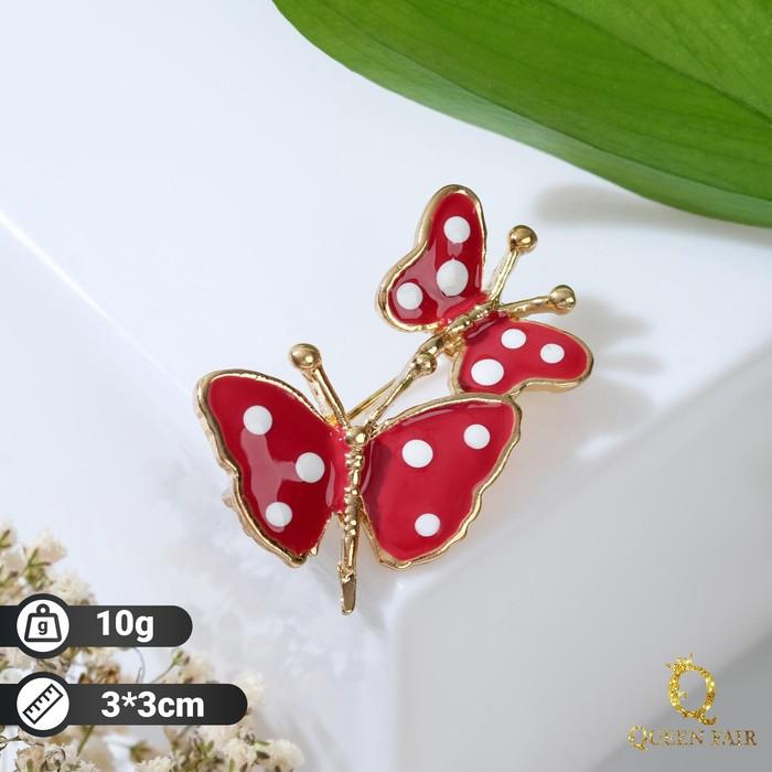 """Брошь """"Бабочки"""", цвет красный в золоте"""