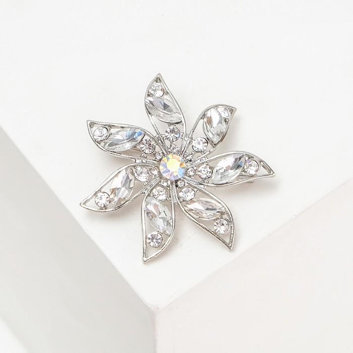 """Брошь """"Цветок"""" веер, цвет бело-серый в серебре - фото 329124018"""