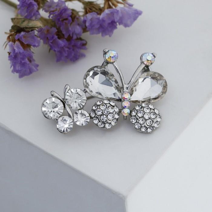 """Брошь """"Бабочки"""" малышки, цвет белый в серебре - фото 329123067"""