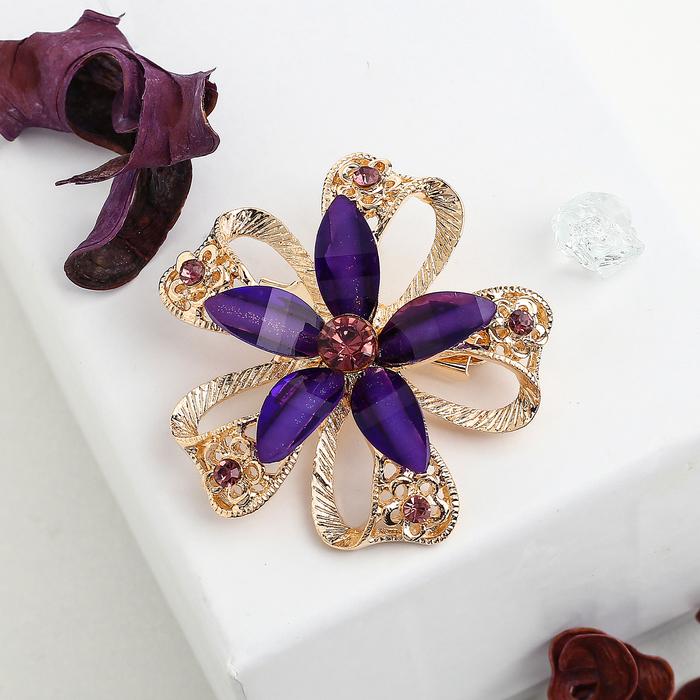 """Брошь """"Цветок"""" эллипс, цвет фиолетовый в золоте - фото 234150263"""